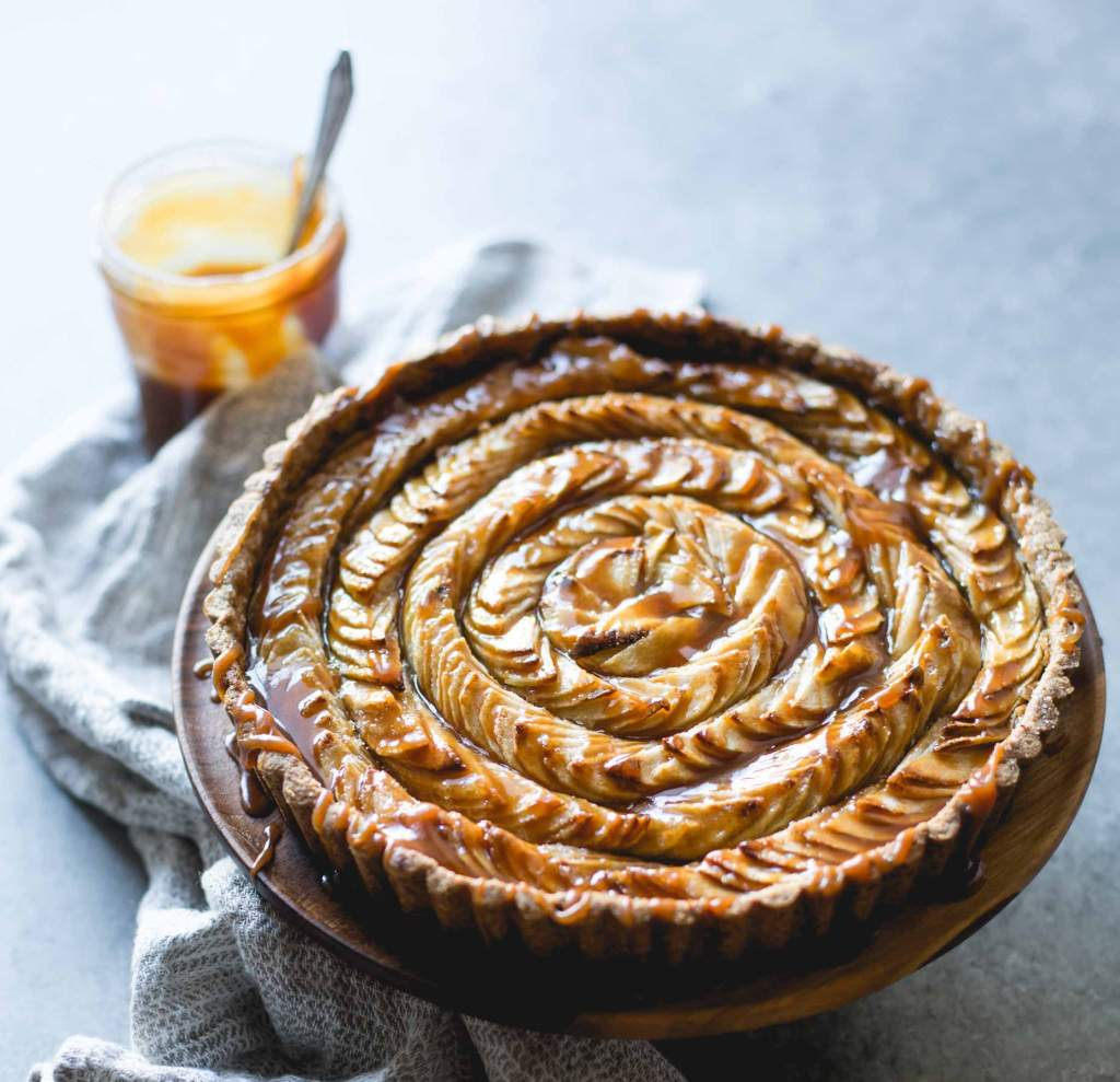 Gluten-Free Apple-Chestnut Tart with Salty Caramel Recipe