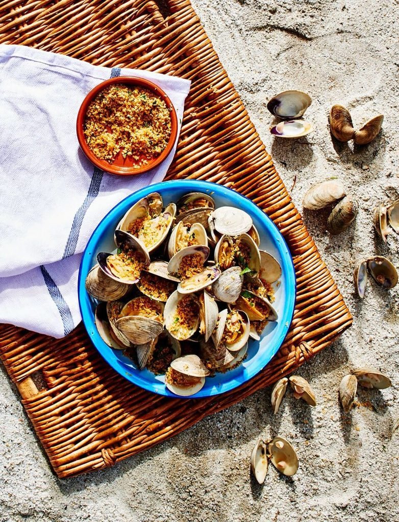 Grilled Clams with Gluten-Free Butter-Garlic Breadcrumbs