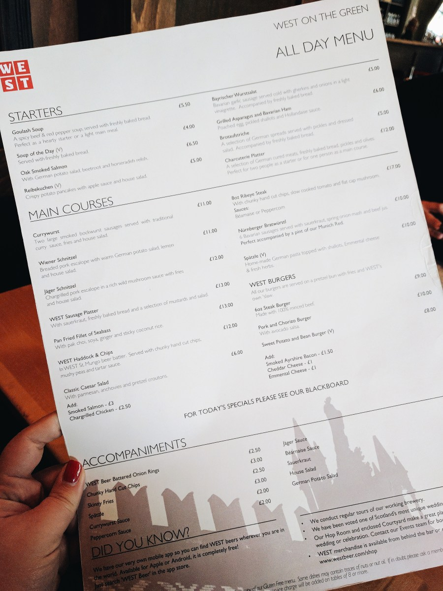 Menu - West on the Green July 2017