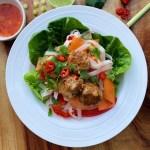 Thai Chicken Meatballs with Noodle Salad {gluten free}