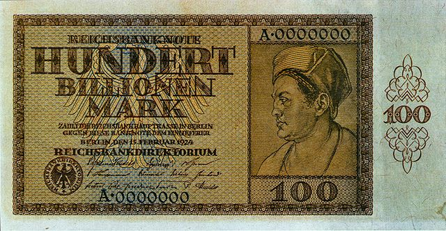 100 Trillion Reichsmark note from Weimar Germany - famous example of who NOT to issue an inflation-linked currency!