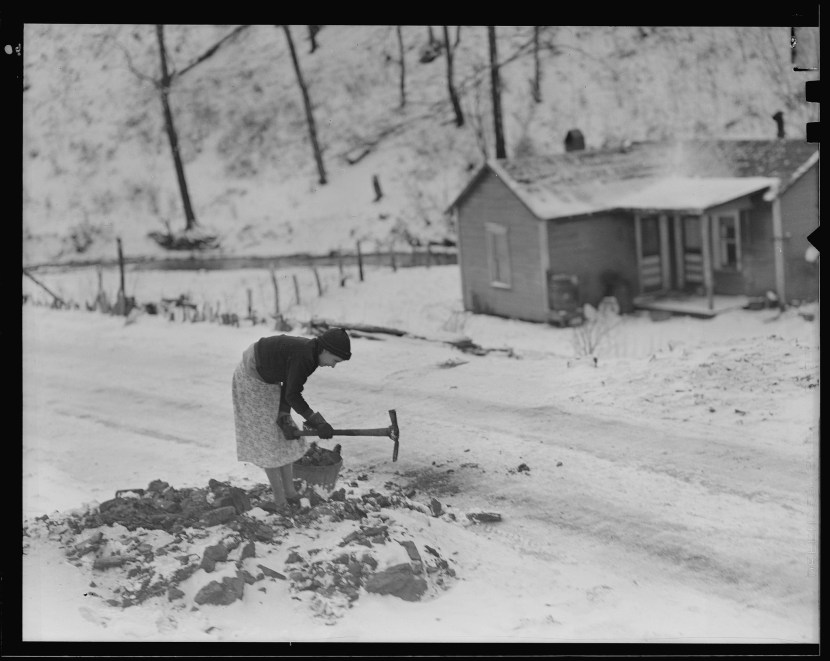 Great depression recession woman gathering coal