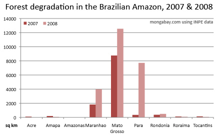 chart showing forest degradation in the brazilian amazon for 2006 through 2008