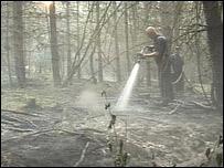 Fireman damping down a forest fire