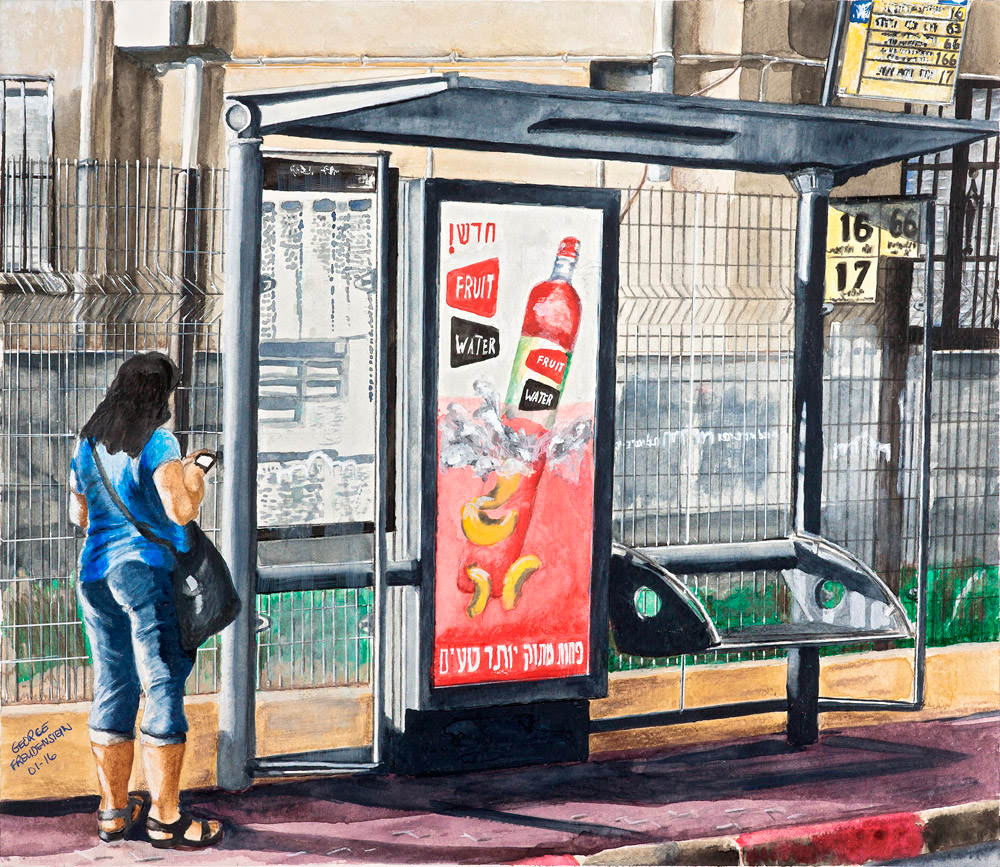BUS STOP AT EARLY MORNING (HaYarkon Street)