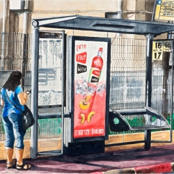 BUS STOP AT EARLY MORNING (HaYarkon Street)