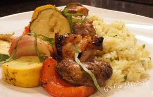 Grilled Honey Mustard Chicken & Veggie Kabobs