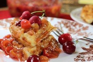 Cherry Rhubarb Sauce on Waffles