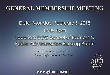 GENERAL MEMBERSHIP MEETING: MONDAY, FEB5 AT 6PM