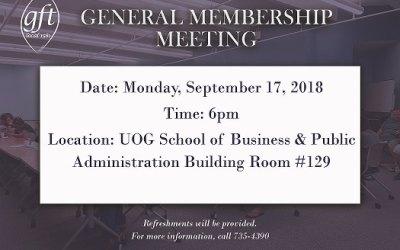 GENERAL MEMBERSHIP MEETING SEPTEMBER 17, 2018