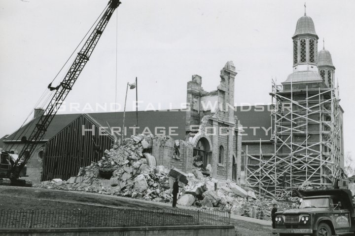 Grand Falls Townsite - Demolition of 2nd Roman Catholic Church, and Construction of New, 1964
