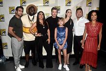 Kumail Nanjiani, Brian Tyree Henry, Salma Hayek, Richard Madden, Lia McHugh, Angelina Jolie, Don Lee and Lauren Ridloff - Eternals - Marvel movie cast
