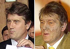 FØR OG ETTER: Utrolig nok er det bare få måneder mellom disse bildene ble tatt. Jusjtsjenkos ansikt ble på kort tid vansiret av dioksiner.