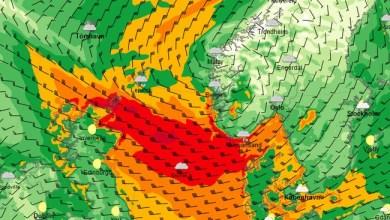 Stormsenter på vei til Sør-Norge. Oppdatert tirsdag 29. januar (Foto: yr.no/kart)