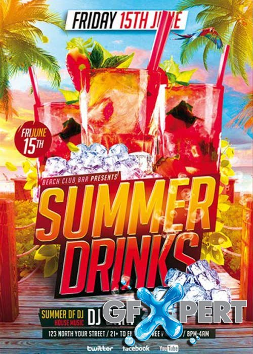 Free Summer Drinks V9 Premium Flyer Template Facebook