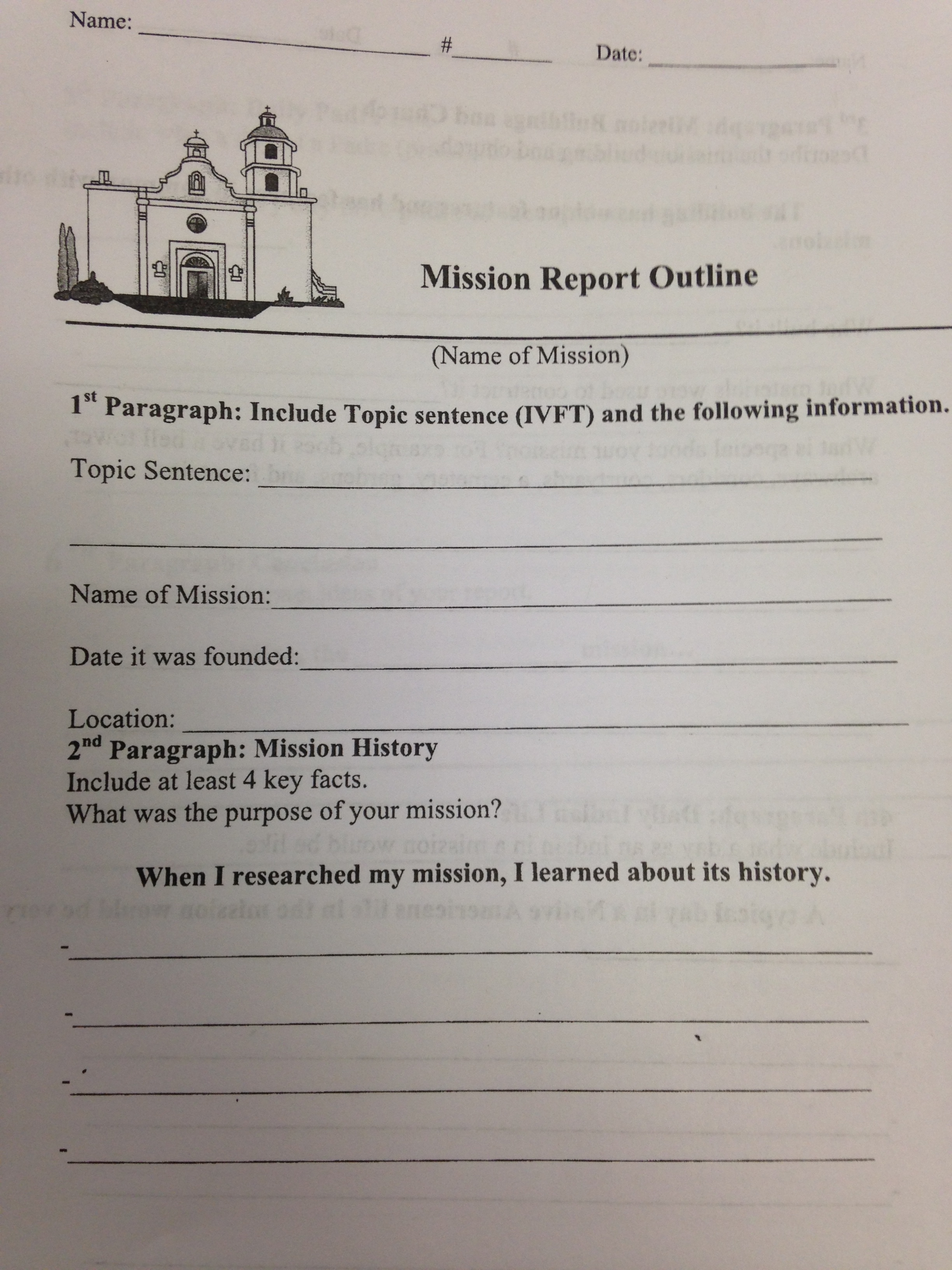 California Mission Report Outline