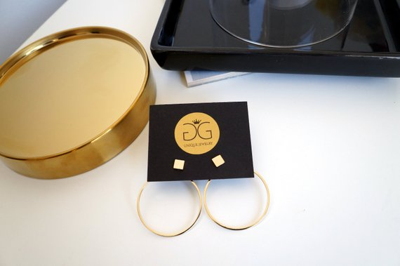 Minimalist geometric gold plated double sided earrings