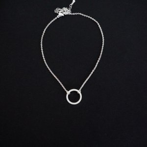 Minimal style silver color karma circle anklet