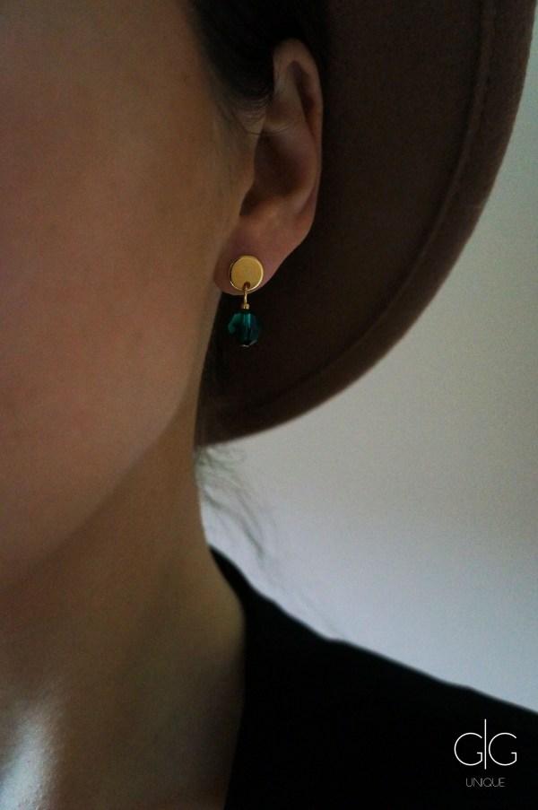 Green emerald swarovski crystal earrings GG UNIQUE