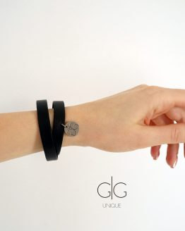 Black double line natural leather bracelet GG UNIQUE