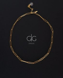 Mountain crystal gold plated big chain necklace GG UNIQUE