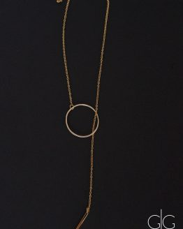 Minimal long necklace with gold plated circle