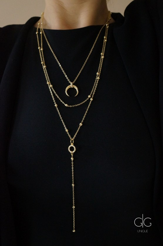 Gold plated three layer horn necklace GG UNIQUE