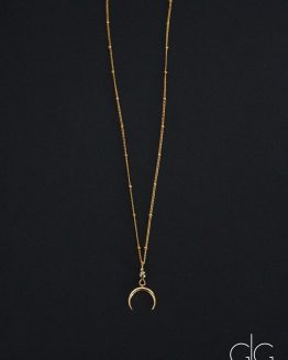 Small stylish half moon gold plated necklace - GG UNIQUE