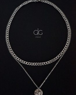Stylish massive chain double layer silver color necklace