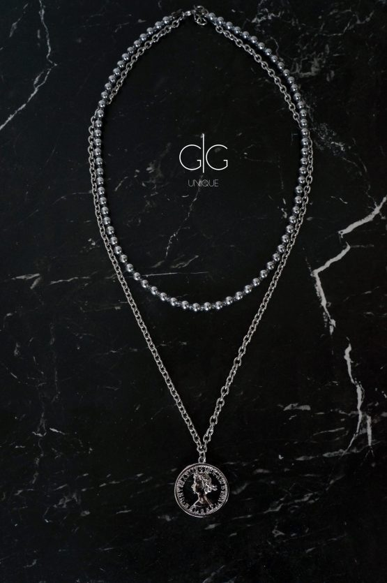 Double layer hematite stone necklace with a coin - GG UNIQUE