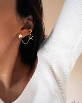 Gold color star earring set with an ear cuff - GG UNIQUE