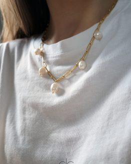 Stylish massive chain with big freshwater pearls - GG UNIQUE