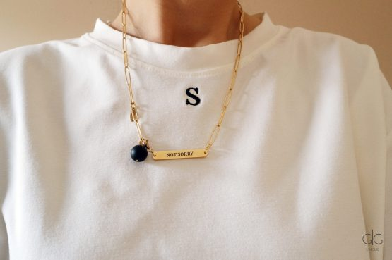 Gold plated stainless steel necklace - NOT SORRY