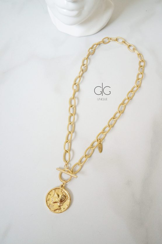 Massive trendy gold plated necklace - GG UNIQUE