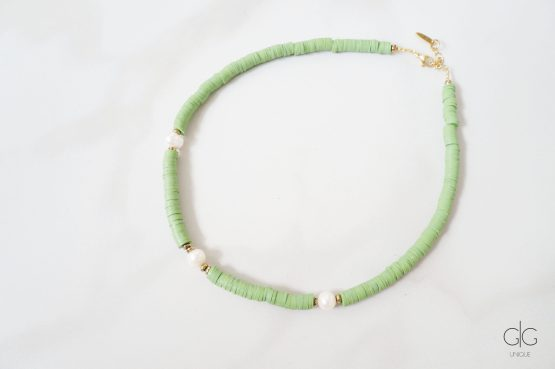 Green necklace with pearls and hematite stones - GG UNIQUE