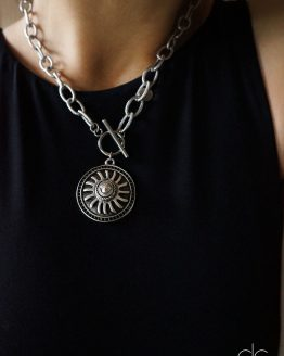 Sun symbol massive trendy steel color necklace - GG UNIQUE