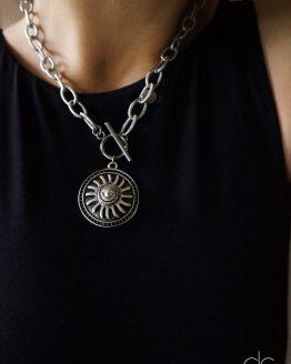 Sun symbol massive trendy steel color necklace - GG UNIQUE