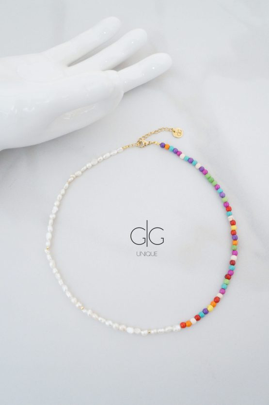 Colorful pearl and howlite stone necklace - GG UNIQUE