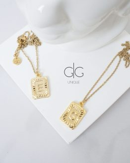 Vintage letter gold plated necklace - GG UNIQUE