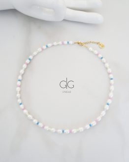 Pearl and vibrant color necklace - GG UNIQUE