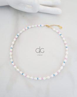 Pearl and vibrant color necklace - GG UNIQUE