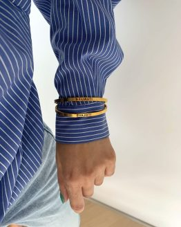 Thick stainless steel bangle bracelet in gold - GG UNIQUE