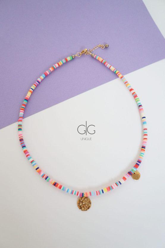 Colorful rubber necklace with gold pendants - GG UNIQUE