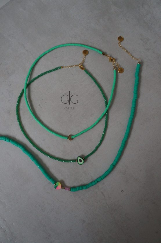 Green color candy heart rubber necklace - GG UNIQUE