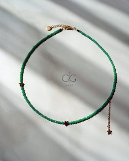 Star necklace with green crystals - GG UNIQUE