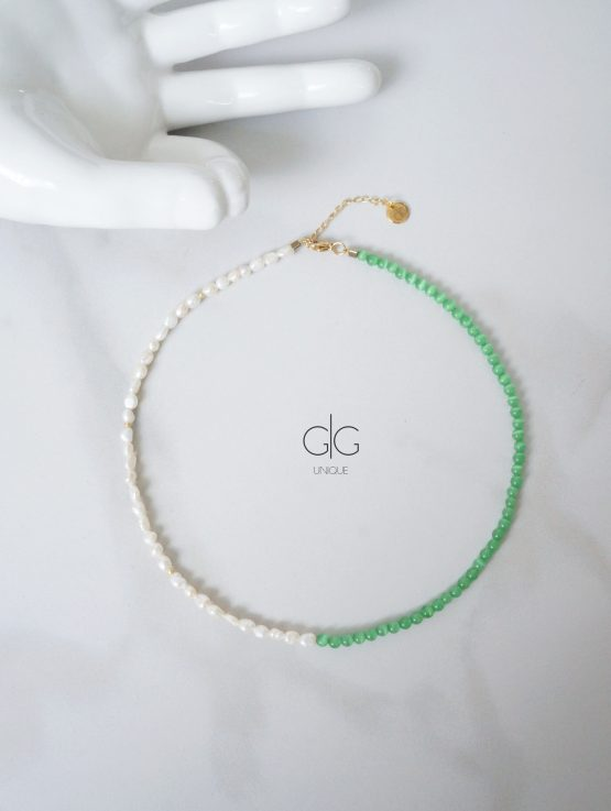 Pearl and green color cat-eye effect stone necklace | GG UNIQUE