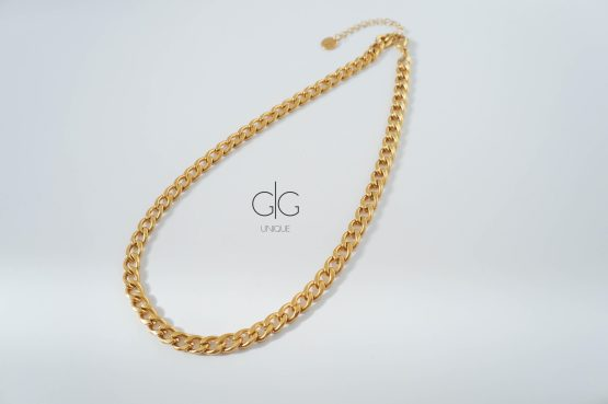 Gold plated curb chain choker necklace - GG Unique