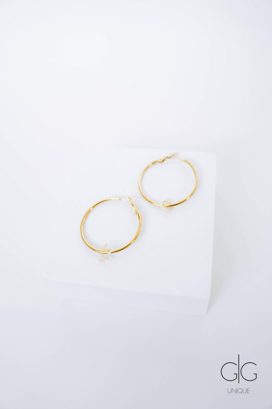 Big gold plated hoops with removable pendants - GG Unique