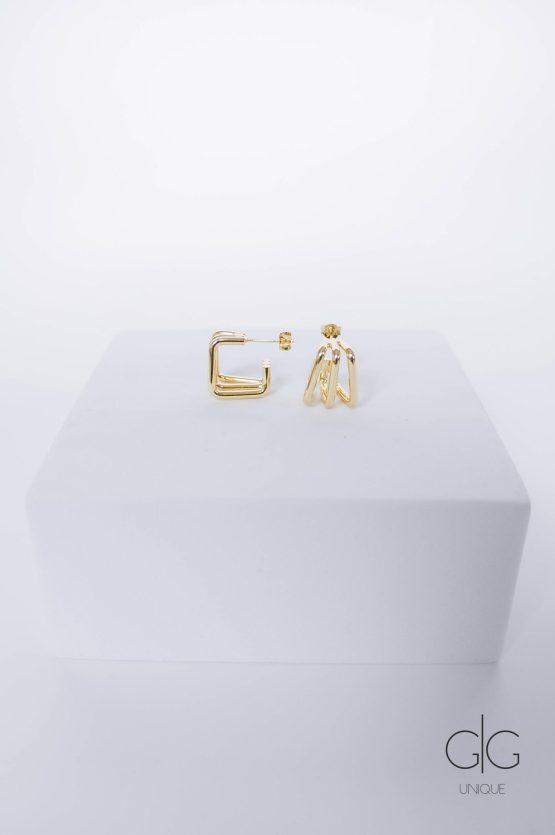 Triple gold plated square hoop earrings - GG Unique