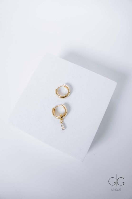 Gold plated hoop earrings with removable zircon pendant - GG Unique